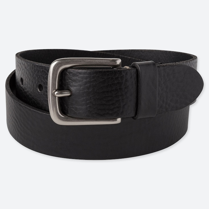 MEN ITALIAN LEATHER VINTAGE BELT, BLACK, large