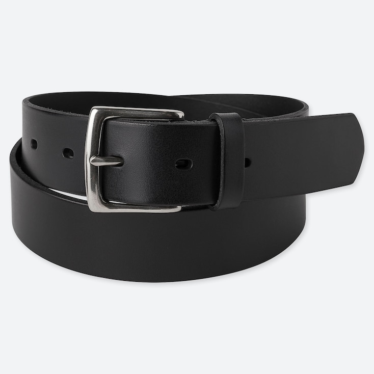 MEN ITALIAN OILED LEATHER BELT, BLACK, large