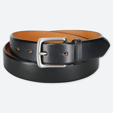 MEN ITALIAN SADDLE LEATHER BELT, BLACK, medium