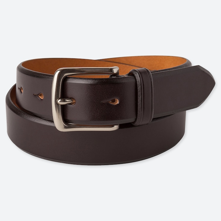 Men Italian Saddle Leather Belt, Dark Brown, Large