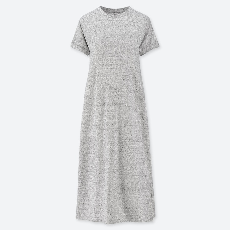 WOMEN SHORT-SLEEVE RELAX DRESS (WITH PADDING), GRAY, large
