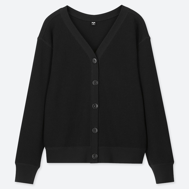 WOMEN WAFFLE V-NECK LONG-SLEEVE CARDIGAN (ONLINE EXCLUSIVE), BLACK, large
