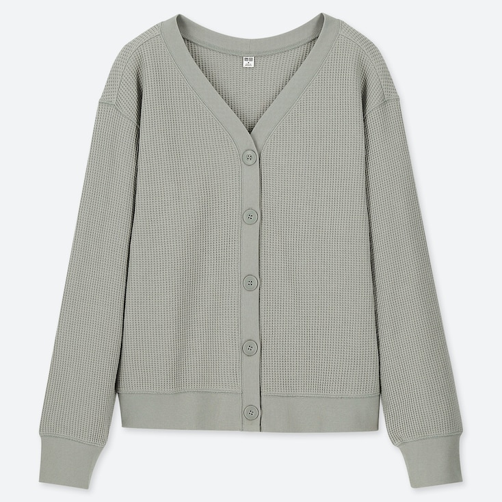 WOMEN WAFFLE V-NECK LONG-SLEEVE CARDIGAN (ONLINE EXCLUSIVE), GREEN, large