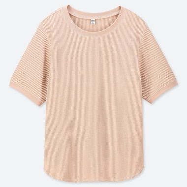 WOMEN WAFFLE KNIT CREW NECK SHORT SLEEVED T-SHIRT
