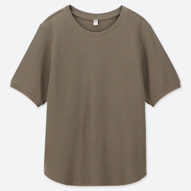 WOMEN WAFFLE CREW NECK SHORT-SLEEVE T-SHIRT, OLIVE, medium