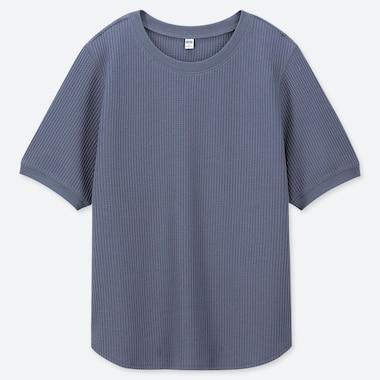 WOMEN WAFFLE CREW NECK SHORT-SLEEVE T-SHIRT, BLUE, medium