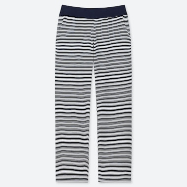 WOMEN ULTRA STRETCH STRAIGHT LEG STRIPED TROUSERS