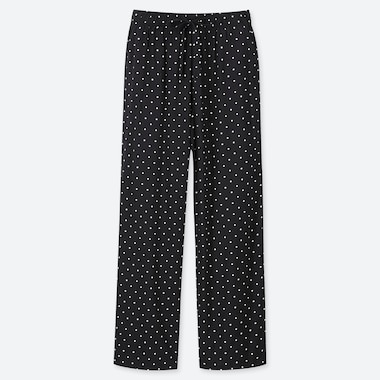 WOMEN DRAPE STRAIGHT DOT-PRINT PANTS, BLACK, medium