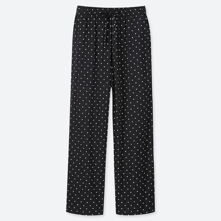 WOMEN DRAPE STRAIGHT DOT-PRINT PANTS, BLACK, large
