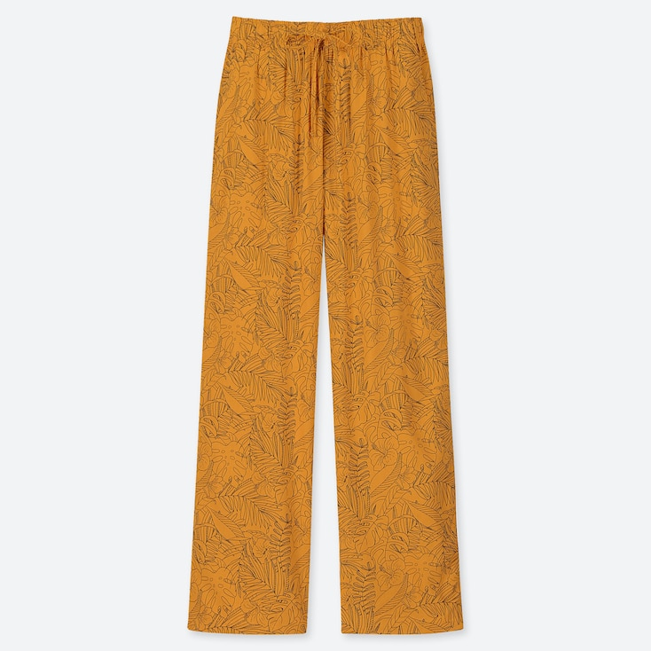 Women Drape Straight Pants, Yellow, Large