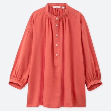 WOMEN LINEN BLEND GRANDAD COLLAR 3/4 SLEEVED BLOUSE