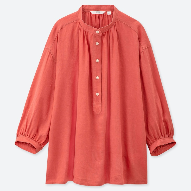 WOMEN LINEN BLEND STAND COLLAR 3/4 SLEEVE BLOUSE, ORANGE, large