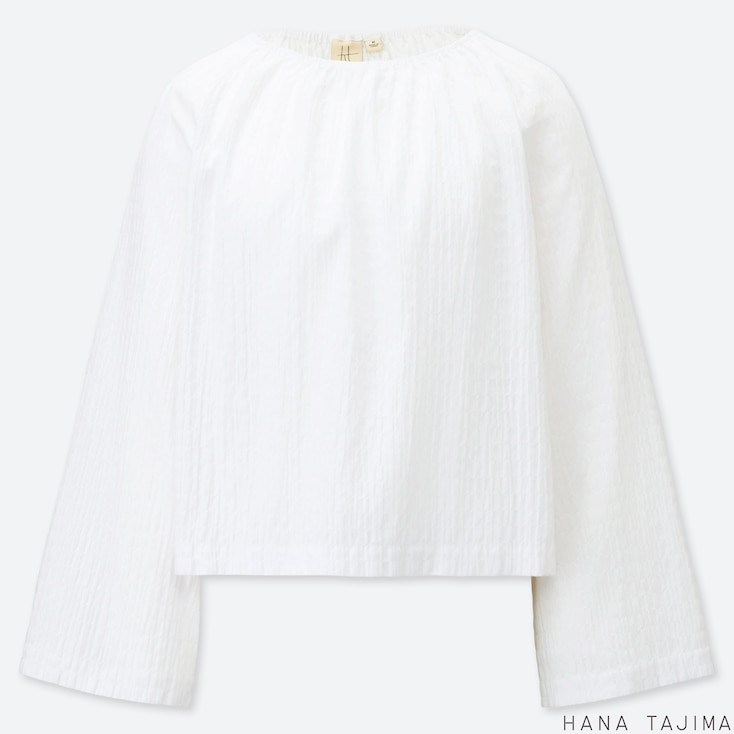 WOMEN SHIRRING GATHERED LONG-SLEEVE BLOUSE (HANA TAJIMA), WHITE, large
