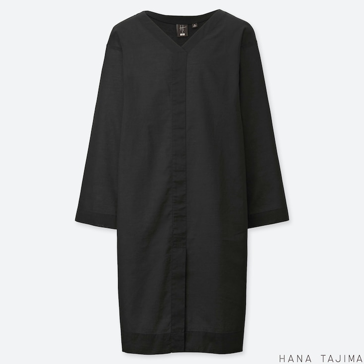 WOMEN V-NECK LONG-SLEEVE TUNIC (HANA TAJIMA), BLACK, large