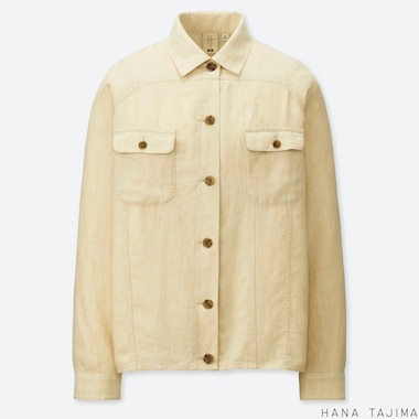 WOMEN HANA TAJIMA LINEN BLEND OVERSIZED SHORT JACKET
