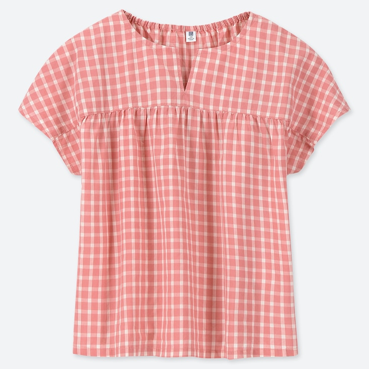 GIRLS CHECKED SHORT-SLEEVE BLOUSE, PINK, large