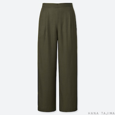 WOMEN TUCK RELAXED WIDE PANTS (HANA TAJIMA), DARK GREEN, medium
