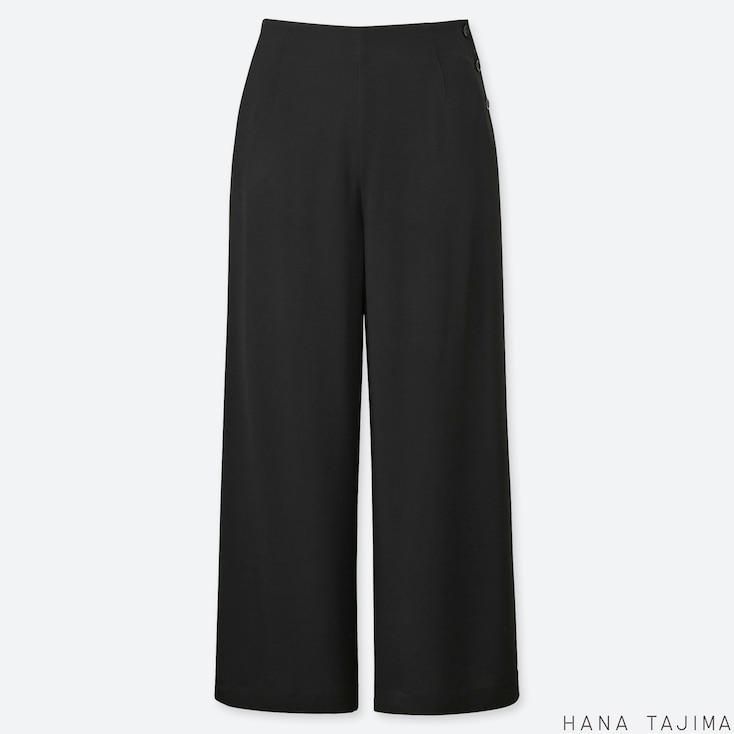 Women Rayon Relaxed Wide Ankle Pants (Hana Tajima), Black, Large