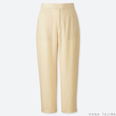 WOMEN LINEN BLENDED RELAXED ANKLE PANTS (HANA TAJIMA), BEIGE, medium