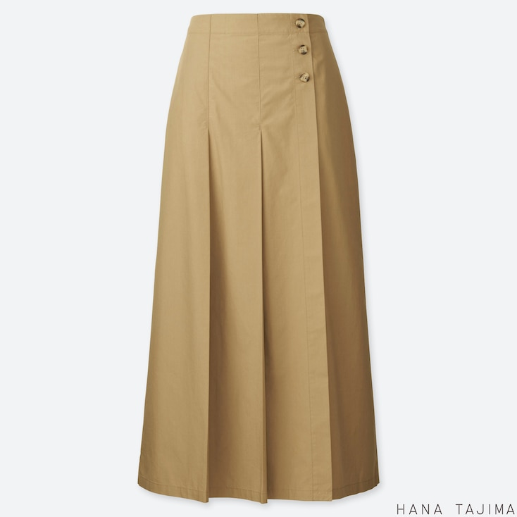 WOMEN TUCK FLARE LONG SKIRT (HANA TAJIMA), BEIGE, large