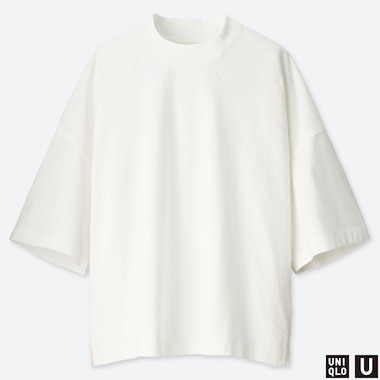 WOMEN U OVERSIZE SQUARE HALF-SLEEVE T-SHIRT, OFF WHITE, medium