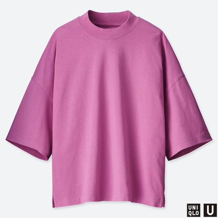 WOMEN U OVERSIZED SQUARE HALF-SLEEVE T-SHIRT, PURPLE, large