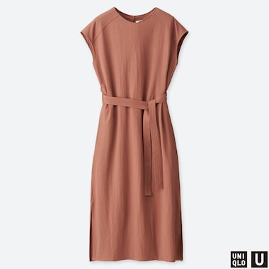 WOMEN UNIQLO U CAP SLEEVED BELTED DRESS