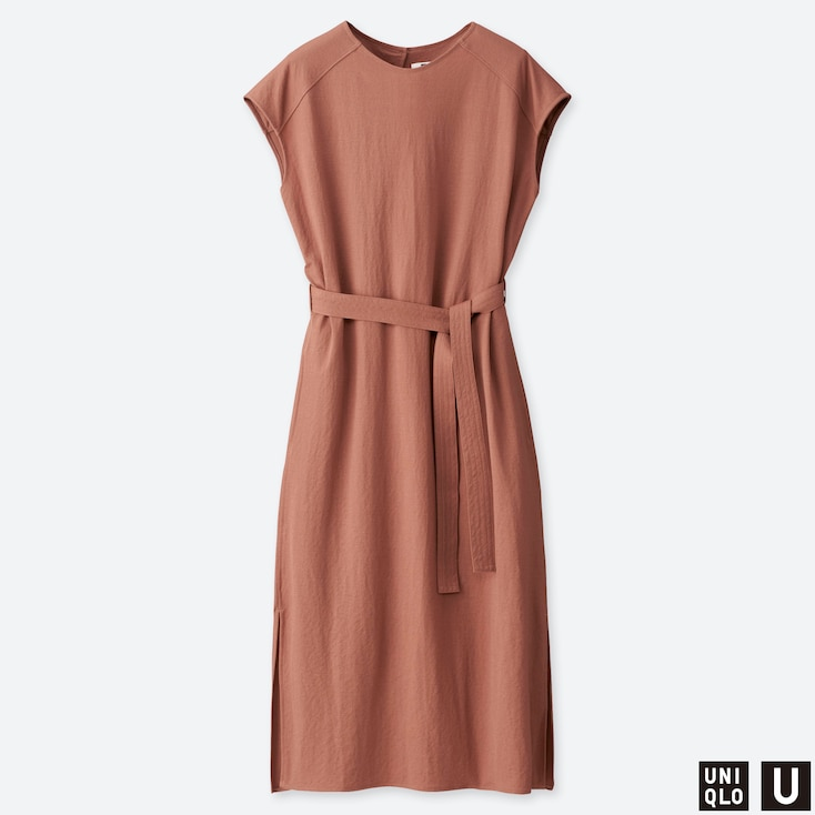 WOMEN U TUBE SHORT-SLEEVE DRESS, BROWN, large