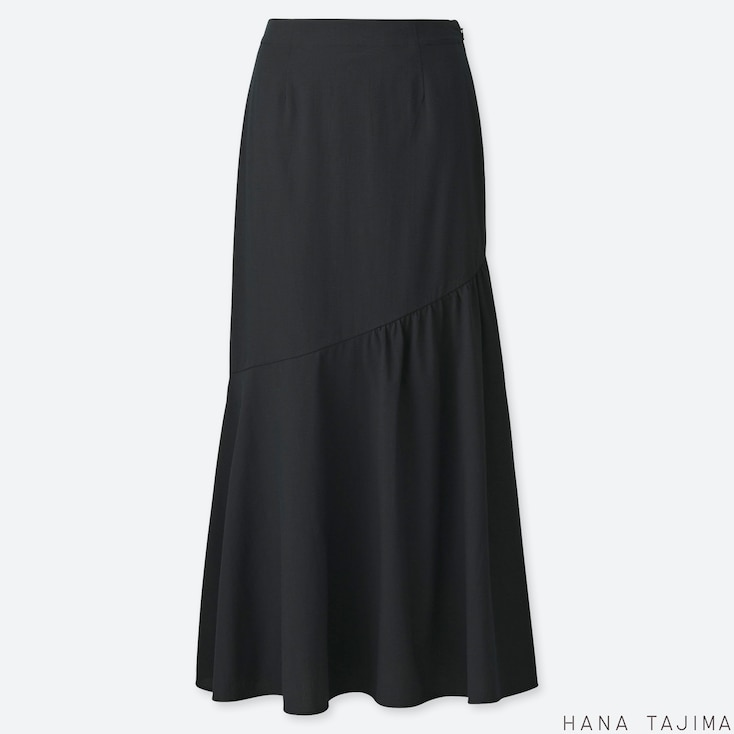 WOMEN SEERSUCKER FLARE LONG SKIRT (HANA TAJIMA), BLACK, large