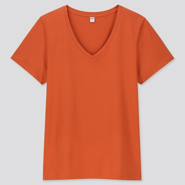 WOMEN SUPIMA COTTON V NECK SHORT SLEEVED T-SHIRT