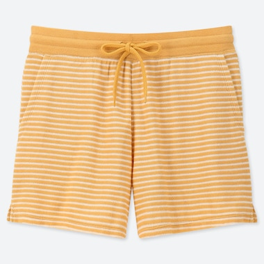 WOMEN AIRISM PILE STRIPED SHORTS