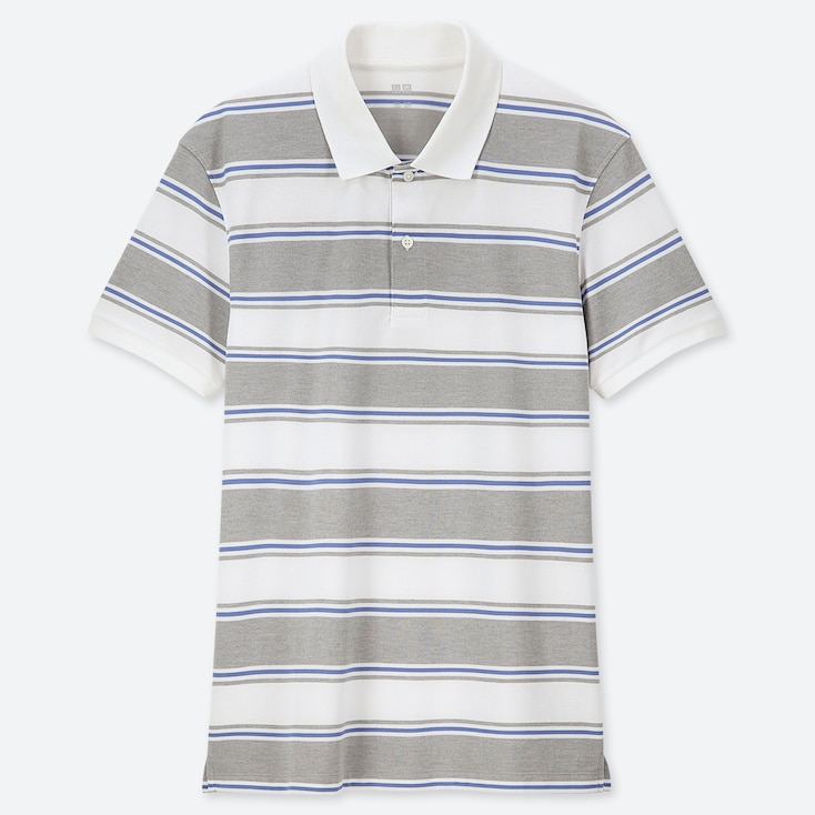 MEN DRY-EX PIQUE STRIPED POLO SHIRT, GRAY, large