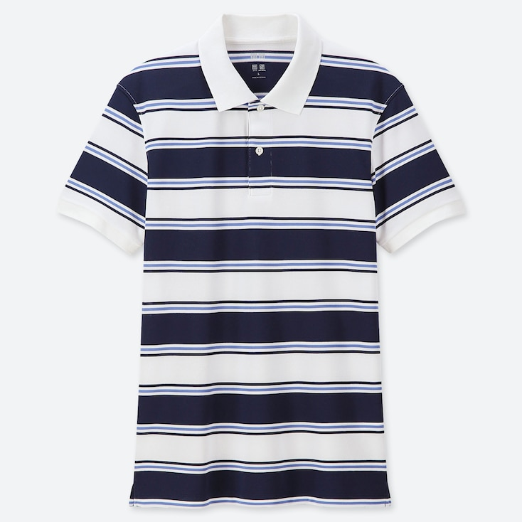 MEN DRY-EX PIQUE STRIPED POLO SHIRT, NAVY, large