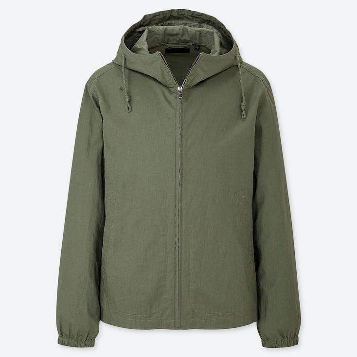 MEN LINEN COTTON FULL-ZIP PARKA, OLIVE, large