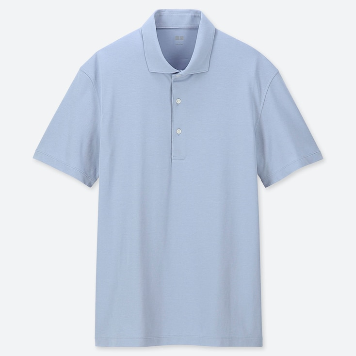 MEN AIRism SHORT-SLEEVE POLO SHIRT, BLUE, large