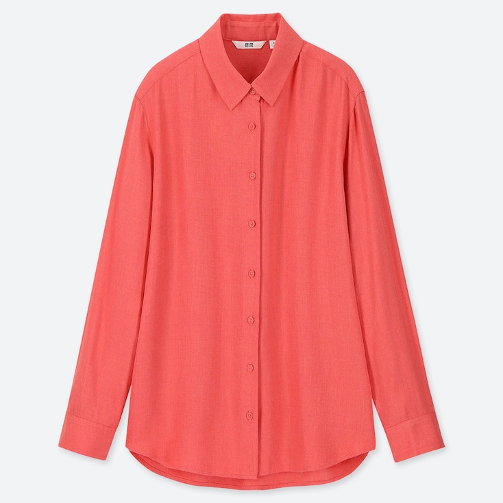 WOMEN RAYON LONG-SLEEVE BLOUSE, RED, large