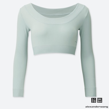 WOMEN AIRism SEAMLESS CROPPED LONG-SLEEVE T-SHIRT (ALEXANDER WANG), GRAY, medium