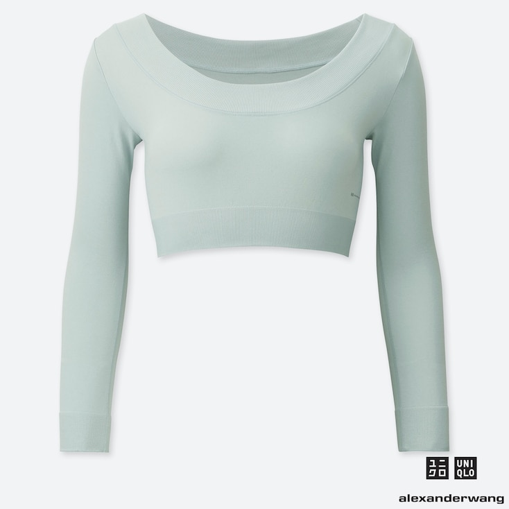 WOMEN AIRism SEAMLESS CROPPED LONG-SLEEVE T-SHIRT (ALEXANDER WANG), GRAY, large