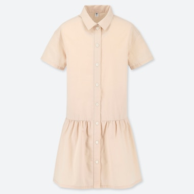 GIRLS SHIRT SHORT-SLEEVE DRESS, PINK, medium