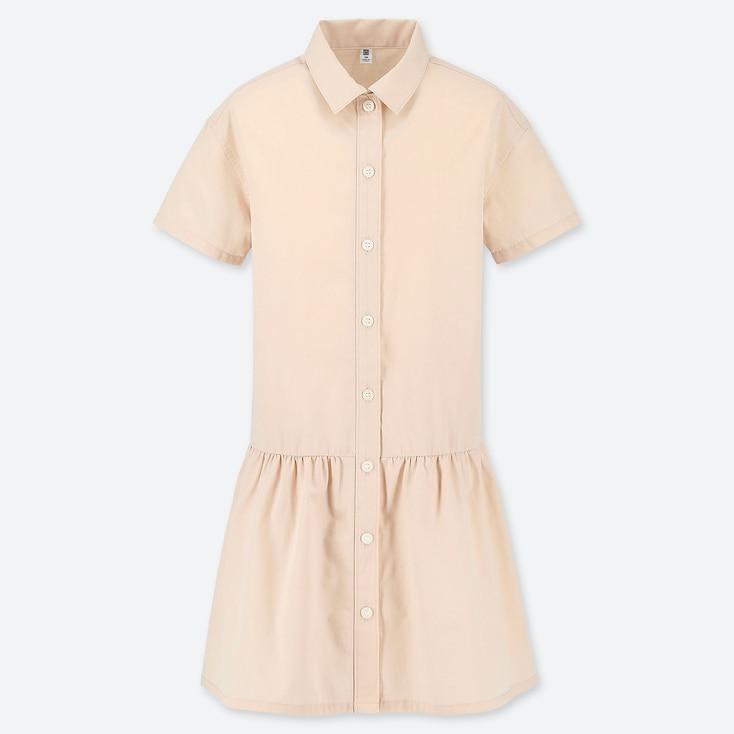 GIRLS SHIRT SHORT-SLEEVE DRESS, PINK, large