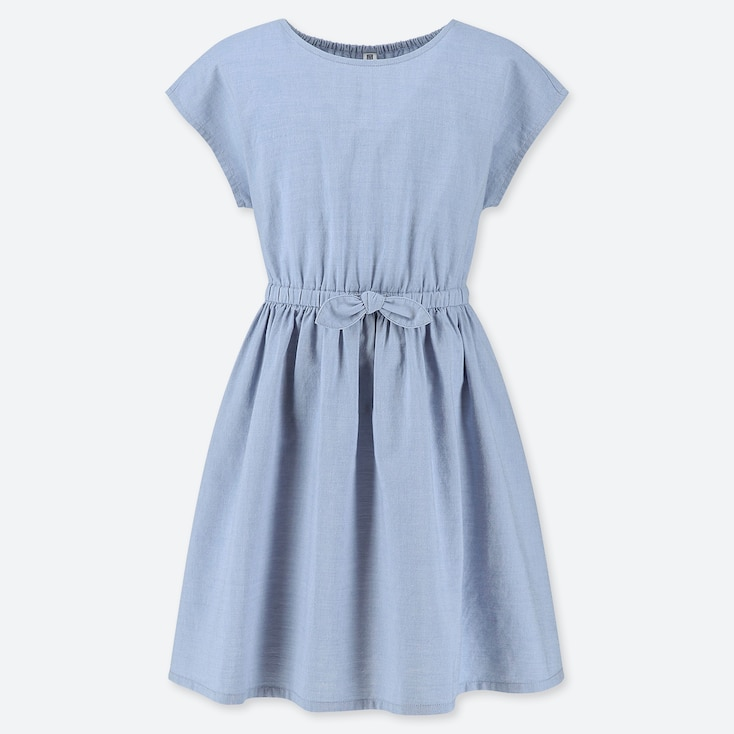 GIRLS CHAMBRAY SHORT-SLEEVE DRESS, BLUE, large