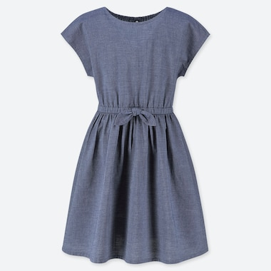 GIRLS CHAMBRAY SHORT SLEEVED DRESS