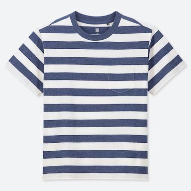 KIDS STRIPED CREW NECK SHORT-SLEEVE T-SHIRT, BLUE, medium