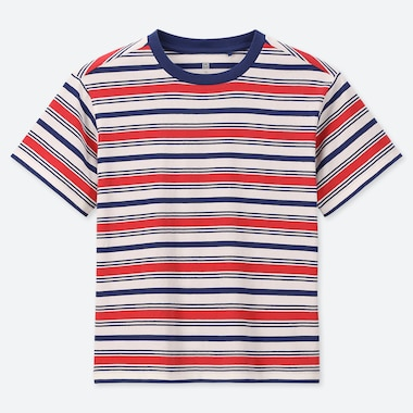 KIDS STRIPED CREW NECK SHORT-SLEEVE T-SHIRT, RED, medium