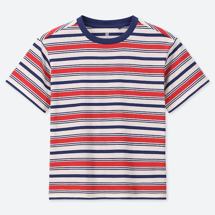 KIDS STRIPED CREW NECK SHORT-SLEEVE T-SHIRT, RED, large