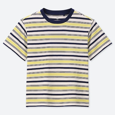 KIDS STRIPED CREW NECK SHORT-SLEEVE T-SHIRT, YELLOW, medium