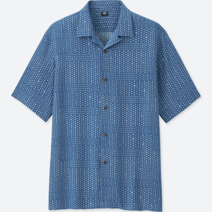 MEN MICKEY BLUE OPEN COLLAR SHORT-SLEEVE SHIRT, BLUE, large