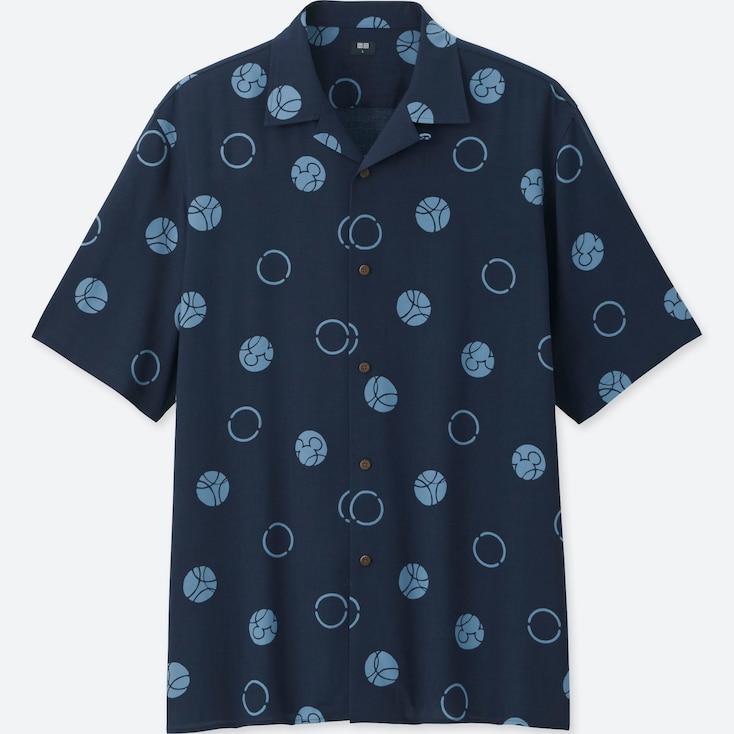 MEN MICKEY BLUE OPEN COLLAR SHORT-SLEEVE SHIRT, NAVY, large