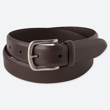 MEN ITALIAN LEATHER NO-STITCH BELT, DARK BROWN, medium
