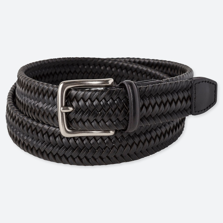Men Bonded Leather Stretch Mesh Belt, Black, Large